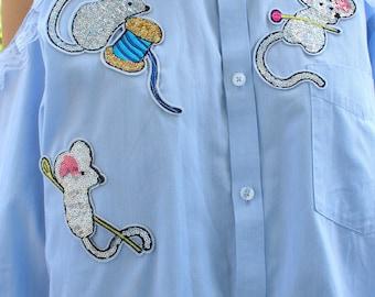 chemise vintage épaules dénudées dentelles, souris strass