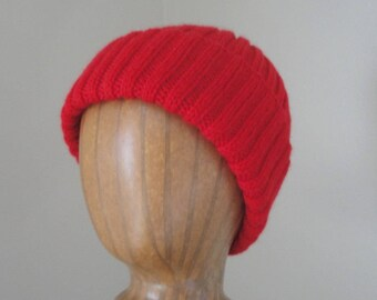 Warm Red Hat, Hand Knit, Wool, Teens Men Women, Watch Cap Beanie, Jacques Cousteau