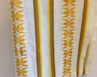 Vintage Tablecloth, Vintage Table Linens, Mustard Yellow Tablecloth, Thanksgiving