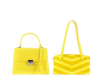 Leather top handles JASMIN // yellow patent (Italian calf skin) - FREE shipping, unique