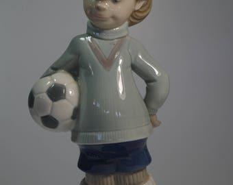 "Vintage Lladro Soccer Boy Hand Made Figurine Football Retired 8"""