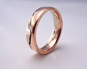 Mixed Gold Mountain Ring, 7mm band, Handmade with recycled Rose Gold & Palladium White Gold, Wedding Band, Mountain Wedding, Outdoor couple