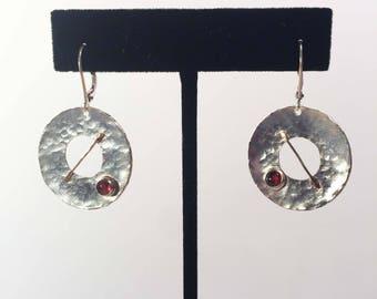 Sterling silver, 18 K Gold and Garnet Earrings