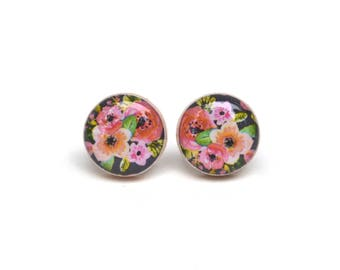 Summer floral studs flower studs summer outdoors post earrings flower earrings wood earrings wood earrings spring jewelry for her