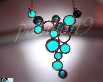BUBBLES Necklace / Small Bubbles pendant / GLOW in the DARK / Glow Necklace /