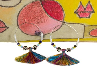 Tassel Earrings, Colorful Tassel Earrings, Fringe Earrings, Tassel Jewelry, Boho Earrings, Hippie Earrings, Gypsy Hoops, Sterling Silver