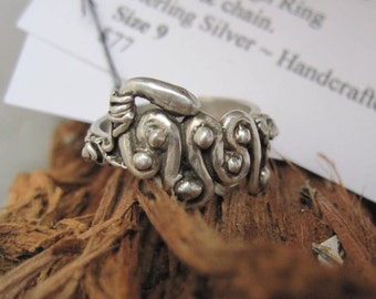 Snake Ring Sterling Silver Size 9