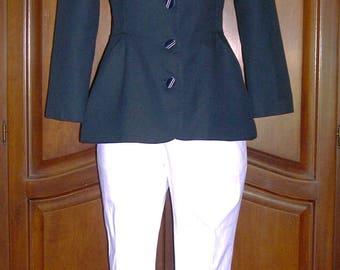 Geoffrey Beene jacket, navy blue,cotton/linen , peplum style, size 6