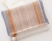 Blue Foldover Clutch Purse / Reclaimed Vintage Textiles Desert Hues / Zip Pouch