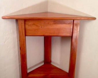 Vintage Pine YIELD HOUSE Corner Table W/ Cherry Finish