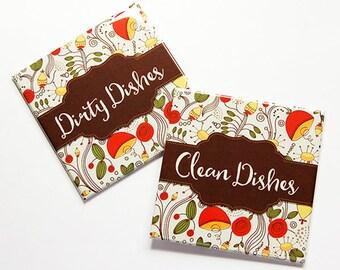 Dishwasher Magnet, Clean Dishes Magnet, Dirty Dishes Magnet, Kitchen Magnet, floral, brown, orange, stocking stuffer, gift for her (7814)