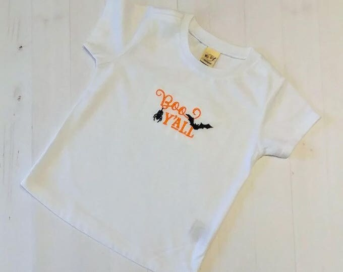 Boo Y'all with bats embroidered t shirt for girls- Halloween top for boys and girls- tops for toddlers