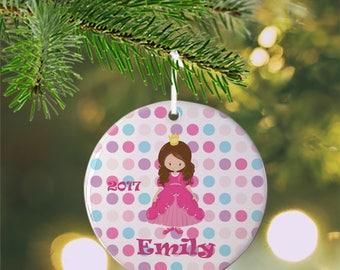 Personalized Kids Ornament - Princess Dark Pink Dress Purple Dots, Children Christmas Ceramic Circle Heart Snowflake Star