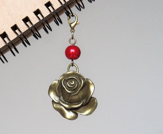 Planner charms travelers notebook charm TN accessories red rose handmade red pearl planner decoration gift ideas