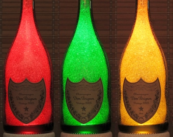 Dom Perignon Champagne 750 ml Color Changing RGB LED Remote Controlled Bottle Lamp Bar Light