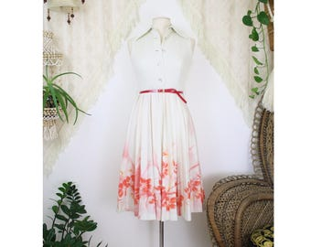 70s vintage Tea dress, Picnic dress Day dress, White shirt dress Red floral Pleated skirt, Small 4192