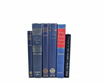 Antique Rich BLue Books, Navy Decorative Books, Book Decor, Old Book Set, WEdding Centerpiece, Book Collection, Home Decoration