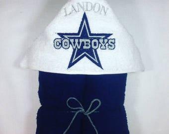 Dallas Cowboys, Cowboys Personalized Hooded Towel, Dallas Cowboys Towel, Kids Personalized Hooded Towel, Kids Beach Towel, Kids Gift, Dallas