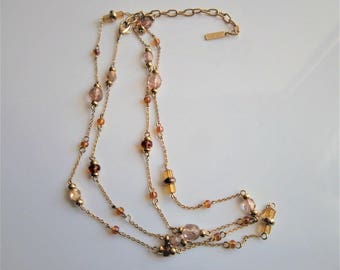 """Elegant Napier Signed Vintage Gold Tone Necklace w/ Faceted Faux Amber Beads 32"""""""