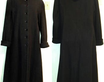 Delightful NEW Full Length Womens Long Winter Wool Coat ROOMY 12 14 Large Floor Lgth  Hood Black