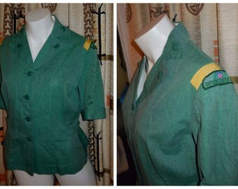 Vintage Girl Scout Blouse 1950s early 60s Troop Leader Blouse Green Girl Scout Shirt Top USA Rockabilly M chest to 38 in AS IS armpit marks