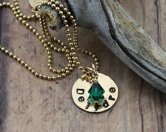 Block Name Pendant, 14K Gold-Filled or Sterling Silver,  w/Birthstone Crystal Accent on 16 to 24-In. Bead or Box Chain; Everyday Necklace