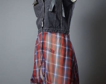 ON SALE Plaid Denim Vest - Denim Vest Jacket - Punk - Street Wear - Funky - Denim Jacket