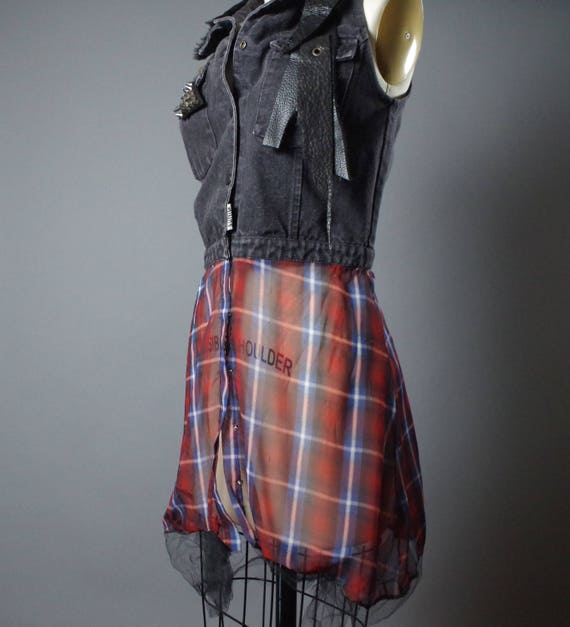 ON SALE Plaid Denim Vest - Denim Vest Jacket - Punk - Street Wear - Funky - Denim Jacket