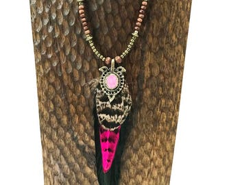 Big Sky Beaded Feather Necklace