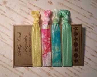 Hair Ties Set of 4 * Pink Tie Dye Hair Band * Blue & Mint Green Tie Dye Hair Bands * Multi Color No Crease Hair Tie * Hair Band Bracelet