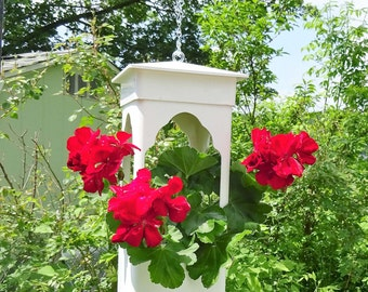 PVC hanging planter or feeder, suet or seed holder, LED candleholder, ez care, unique fully assembled, multipurpose, made in USA