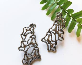 Vintage Brutalist silver earrings