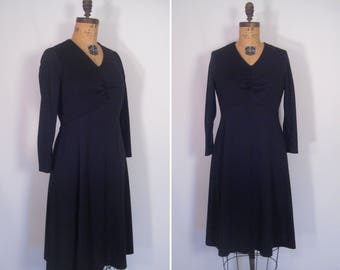 1960s minimalist mod black dress • 60s mid-century noir dress • vintage nightbird dress