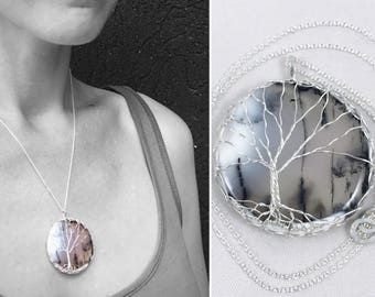 "Tree of Life Necklace - Sterling Silver - Dendritic Agate - ""Misty Fronds"""