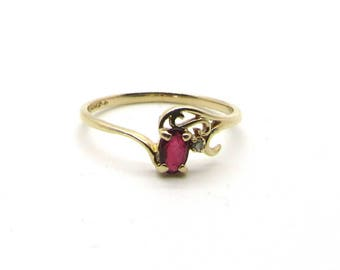 14 Karat Yellow Gold Ruby and Diamond Ring, Vintage Ruby Ring, July Birthstone, Birthstone Ring, Ruby Ring, Oval Cut Ruby, Natural Ruby Ring