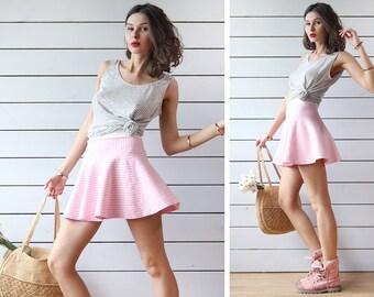 Vintage pink white gingham plaid skater high waist circle short mini skirt S
