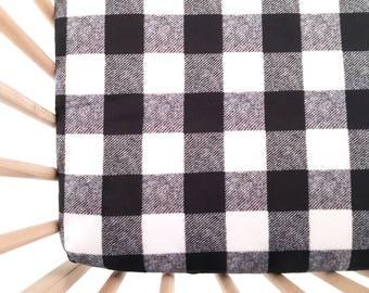 Crib Sheet Black and Cream Buffalo Check. Fitted Crib Sheet. Baby Bedding. Crib Bedding. Crib Sheets.