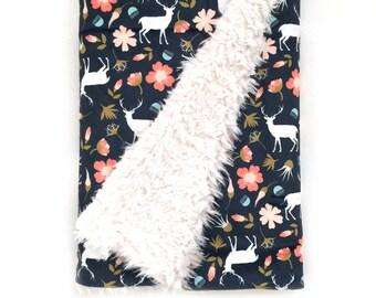 Baby Blanket Stag in Flowers. The Cloud Blanket. Faux Fur Baby Blanket. Minky Baby Blanket. Navy Deer Baby Blanket. Woodland Nursery.