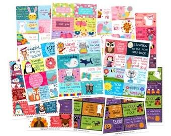 Lunchbox Notes for Kids Mega Pack- Set of 88 Cards - School Notes - Kids Lunch Notes - Mega Pack of Lunchbox Notes - Holiday Lunchbox Notes