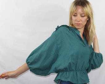 Vintage Teal Linen Wide Sleeve Cropped Ruffle Peplum Top Women's Size XS S
