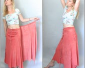 Bubblegum Pink Rare Vintage 60s 70s Genuine DEERSKIN Maxi Skirt Hippie Boho Buckskin Leather Wrap Skirt Fringe Handmade Summer Midi Skirt
