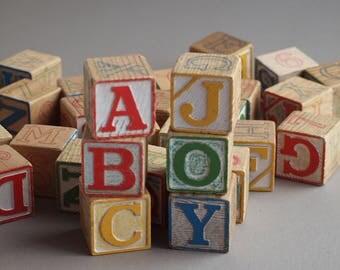 Vintage HALSAM alphabet blocks set of 30 wooden blocks  60s  PLAYSKOOL toy blocks durable non-toxic nursery decor