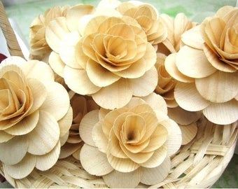 Wooden Roses 12 Pcs Natural Birch for Weddings, Home Decorations, Scrapbooking and Floral Arrangements