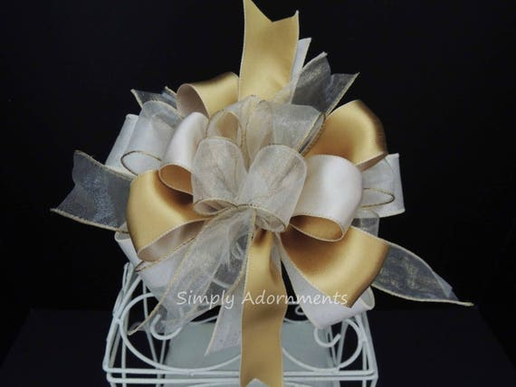 Gold Ivory Bridal shower Party Decor Ivory Gold birthday party decor Ivory Gold Wedding Bow Ivory Gold Baby Shower Party Decor Gifts Bow