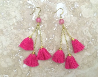 Catalina Tassel Cluster Earrings, Hot Pink Tassel Chandelier Earrings, Pink Tassel Cluster Earrings