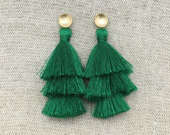 Grace Drop Earrings, Kelly Green Tassel Earrings, Triple Tassel Statement Earrings Brushed Gold Connector,Bridal, Weddings, Holiday, Gifting