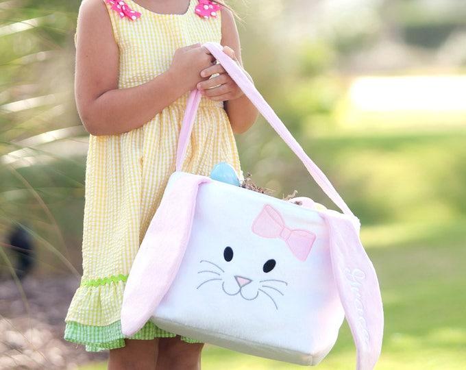 Monogrammed Easter Bunny Basket, Monogram Easter Basket, Personalized Easter Bag, Bunny Ear Easter Basket, Hippity Hoppity Easter Egg Basket