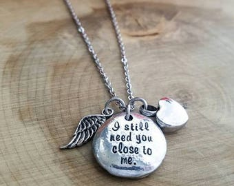 Cremation Urn necklace, urn jewelry, heart cremation necklace, cremation jewelry, sympathy gift, memorial necklace, Hand stamped urn jewelry