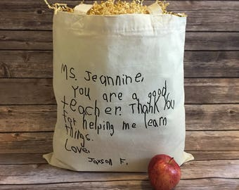 Personalized Teacher Tote Bag, Design Your Own Tote, End of Year Gift, Teacher Gift, Kids Handwriting, Customer Tote, Handwriting Bag