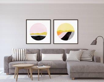 Set of Prints, Wall Art Set, Office Decor, Art Print Set, Wall Art Prints, Large Abstract Art, Modern Art, Large Wall Art, Pink Art